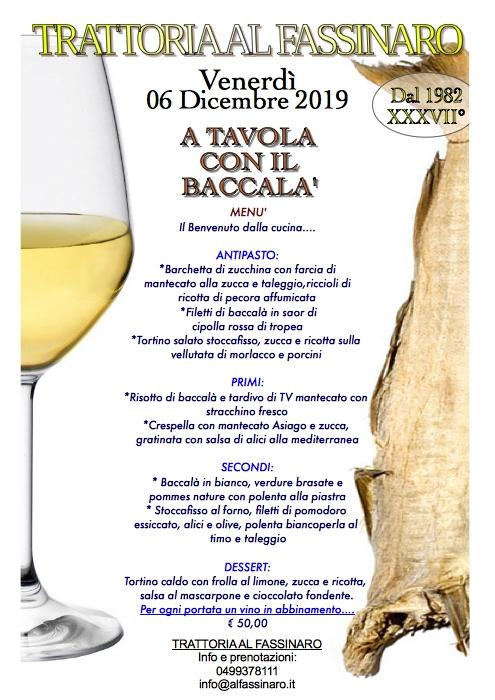 BACCALA 2019 menu cartellone